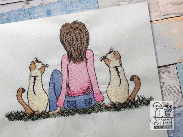 """Girl with Cats - Fits a  4x4"""", 5x7"""" & 6x10"""" Hoop - Machine Embroidery Designs"""