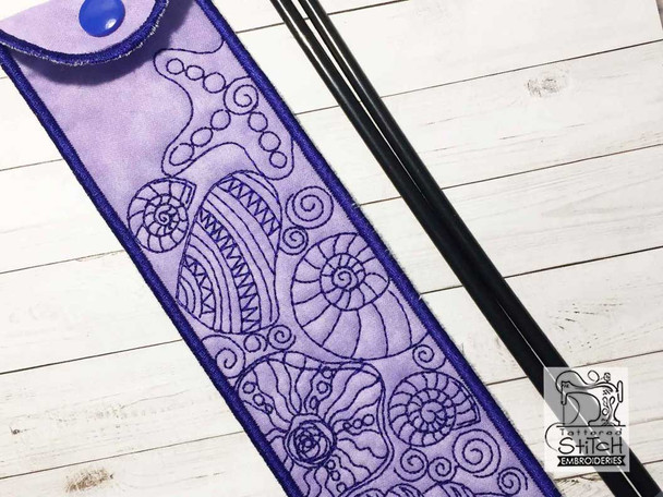 "Shells Emery Board & Straw Holder - Fits a 5x7""6x11"" & 8x12"" Hoop - Machine Embroidery Designs"