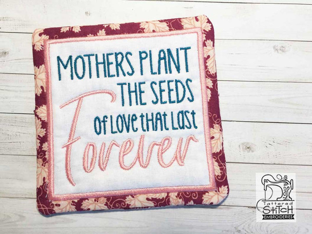 Forever Mother Coaster - Fits a 5x7 Hoop - Instant Downloadable Machine Embroidery