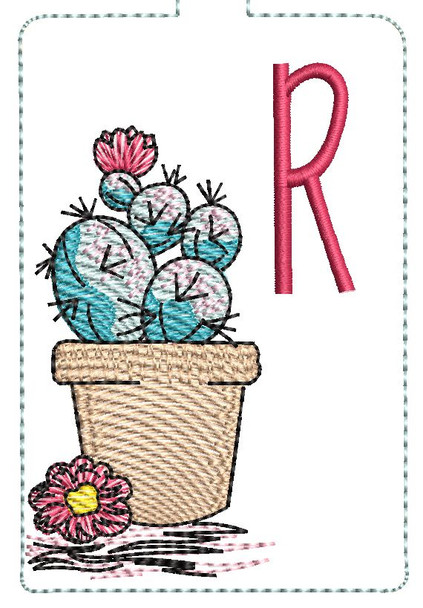 """Prickly Pear ABCs Keychain - R - Fits a 5x7"""" Hoop - Machine Embroidery Designs"""