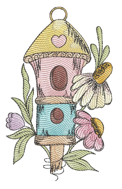 """Birdhouse -  Fits a 4x4"""", 5x7"""" & 6x10"""" Hoop - Machine Embroidery Designs"""