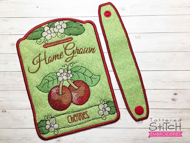 "Cherries Towel Topper -  Fits 5x7""Hoop - Machine Embroidery Designs"