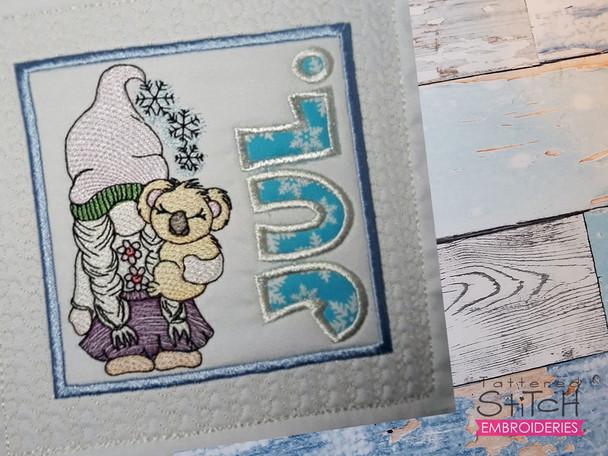 "July Gnome (Australia) Quilt Block  -  Fits a   6x6"", 7x7"", 8x8"" & 10x10""  Hoop - Machine Embroidery Designs"