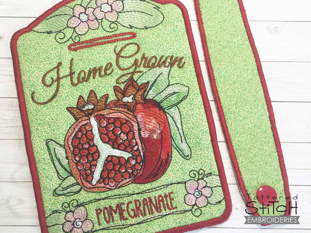 """Pomegranate Towel Topper -  Fits 5x7""""Hoop - Machine Embroidery Designs"""