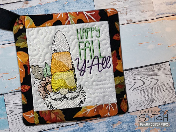 """Happy Fall Gnome  - Pot Holder- Fits a 6x6, 7x7 & 8x8"""" Hoop - Machine Embroidery Designs"""
