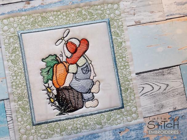 "Sunbonnet Sam Quilt Block 3 -  Fits a  5x5"", 6x6"", 7x7"", 8x8"" & 10x10""  Hoop - Machine Embroidery Designs"