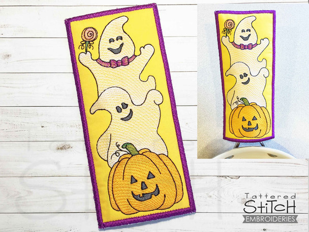 """Halloween Trio  - Pot Handle Holder- Fits a 5x7"""" Hoop - Machine Embroidery Designs"""