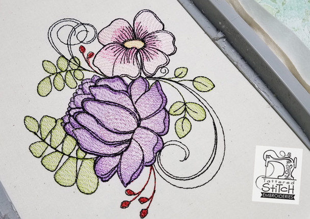 """Dahlia Cluster- Machine Embroidery Design.  4 x 4 & 5 x 7"""" hoop. Instant Download. Water color style stitching. Light Fill stitching."""