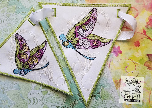 Dragonfly Bunting - Machine Embroidery Design.  4x4, 5x7 and 6x11 In the Hoop - Instant Download.