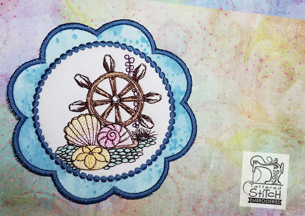 Ships Wheel Coaster - Machine Embroidery Design. 5x7 In The Hoop Instant Download