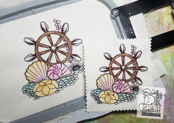 Ships Wheel - Machine Embroidery Design. 4x4 & 5x7 hoop. Instant Download. Water color style stitching