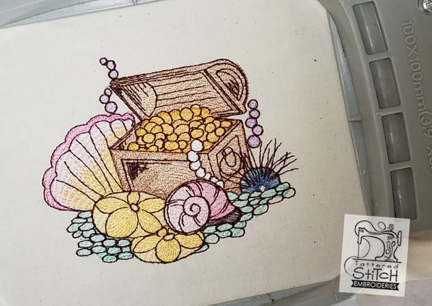 Treasure Chest - Machine Embroidery Design. 4x4 & 5x7 hoop. Instant Download. Water color style stitching