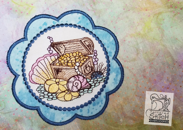 Treasure Chest Coaster - Machine Embroidery Design. 5x7 In The Hoop Instant Download