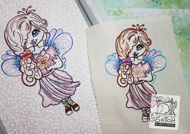 Garden Fairy - Machine Embroidery Design. 5x7 & 6x11 hoop. Instant Download. Water color style stitching