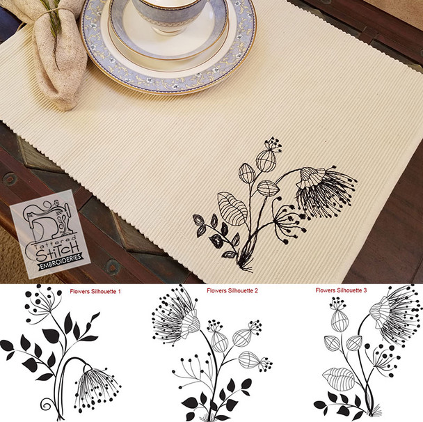 25% Off - Floral Silhouette's 1, 2 & 3 Redwork Bundle