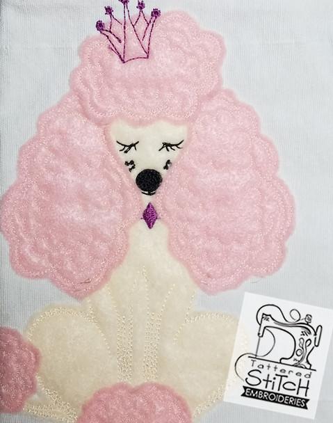 "Poodle Applique - Machine Embroidery Design. 5x7"" hoop. Instant Download."