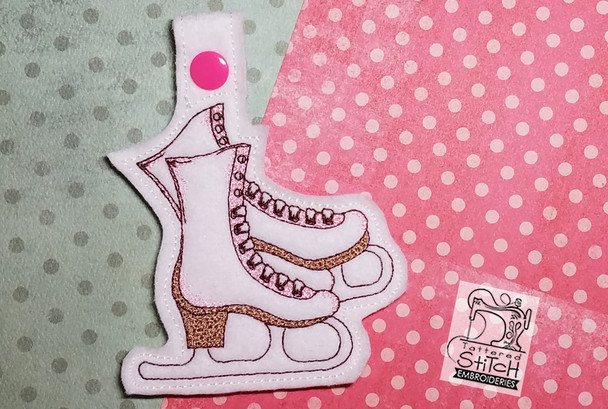 Ice Skates Key Chain - Machine Embroidery Design. 5x7 In The Hoop Instant Download