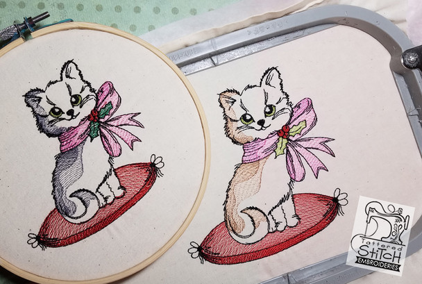 Christmas Kitten 4x4 and 5x7 Hoop, Machine Embroidery Pattern - Instant Download - Light Fill Stitch