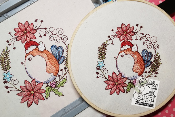 Finch Holiday Wreath - Embroidery Designs