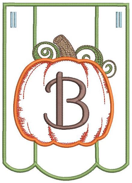 Pumpkin Bunting Alphabet Font - B - Embroidery Designs