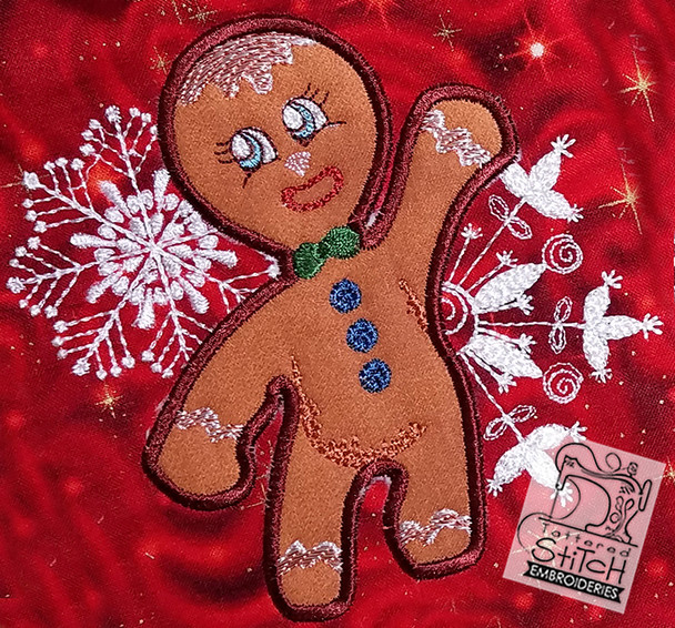Gingerbread Man Applique, Machine Embroidery Pattern - Instant Download - Light Fill Stitch