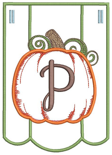 Pumpkin Bunting Alphabet Font - P - Embroidery Designs