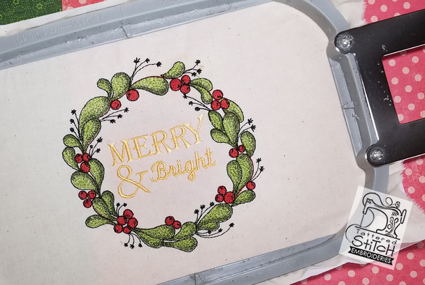 "Merry & Bright 5x7 & 6x11"" Hoop, Machine Embroidery Pattern - Instant Download - Light Fill Stitch"