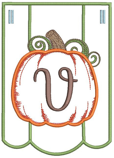 Pumpkin Bunting Alphabet Letter V - Fits into a 5x7 hoop