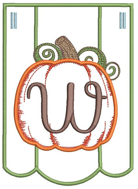Pumpkin Bunting Alphabet Letter W - Fits into a 5x7 hoop