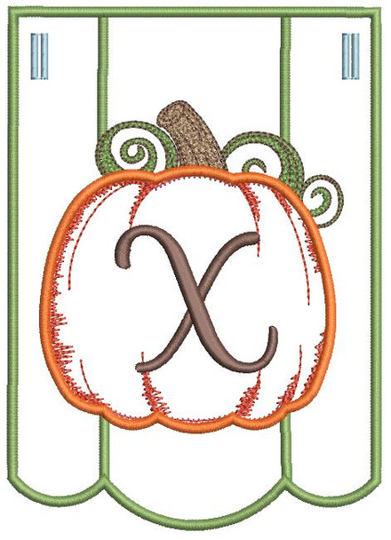 Pumpkin Bunting Alphabet Letter X - Fits into a 5x7 hoop