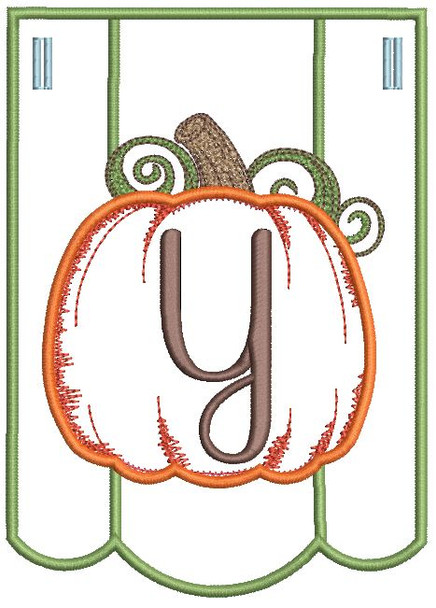 Pumpkin Bunting Alphabet Letter Y - Fits into a 5x7 hoop
