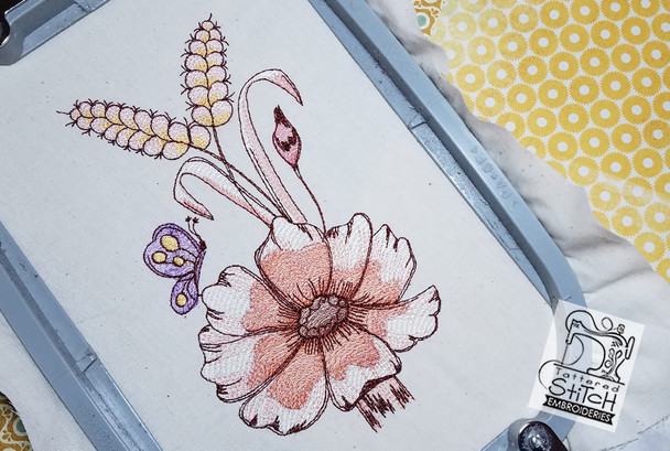 "Fall Floral Cascade 5x7 & 6x11"" Hoop, Machine Embroidery Pattern - Instant Download - Light Fill Stitching"