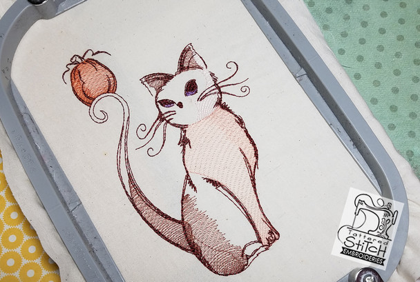 "Cat with Pumpkin 5x7 & 6x11"" Hoop, Machine Embroidery Pattern - Instant Download - Light Fill Stitching"