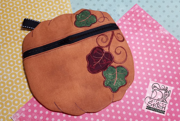 "Pumpkin Harvest Zipper Bag 8by14"" Hoop Machine Embroidery Pattern - Instant Download"
