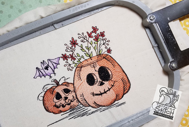 "Pumpkins with Bat Scene 5x7 & 6x11"" Hoop, Machine Embroidery Pattern - Instant Download - Light Fill Stitching"