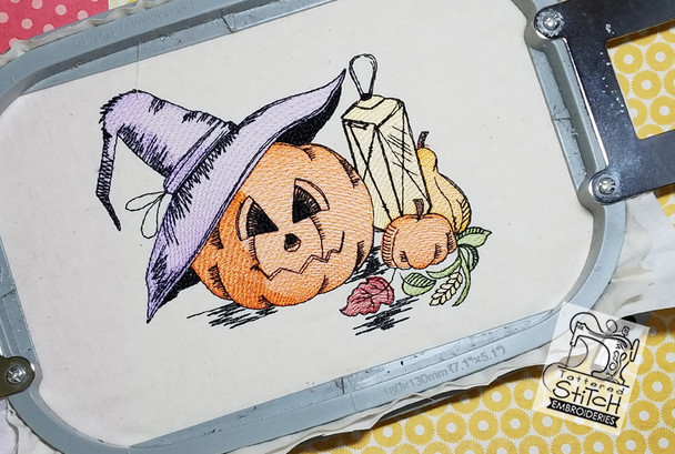 "Halloween Pumpkin Scene Color 5x7 & 6x11"" Hoop, Machine Embroidery Pattern - Instant Download - Light Fill Stitching"