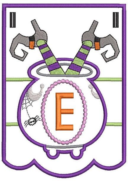 Cauldron Bunting Alphabet Letter E - Embroidery Design