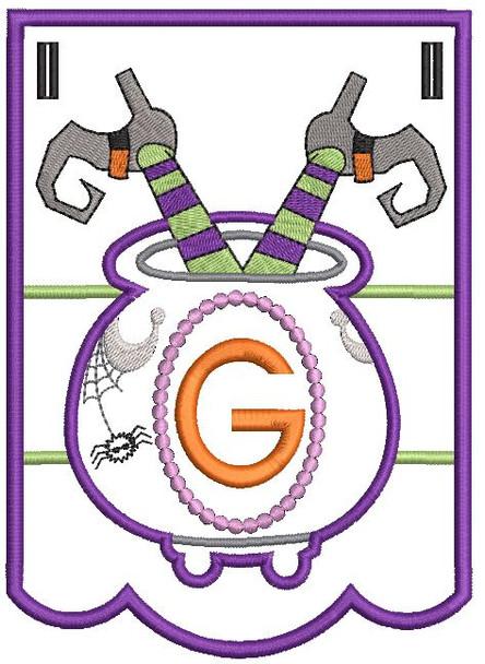 Cauldron Bunting Alphabet Letter G - Embroidery Design