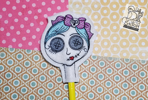 Zombie Girl Pencil Topper - Embroidery Designs