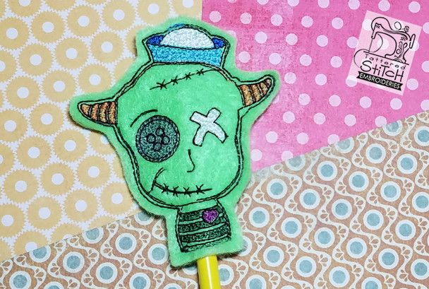 Zombie Boy Pencil Topper - Embroidery Designs