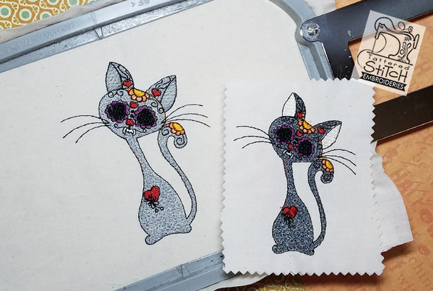 """Day of the Dead Kitty - 4x4 & 5x7"""" Hoop, Machine Embroidery Pattern - Instant Download - Light Fill Stitching"""