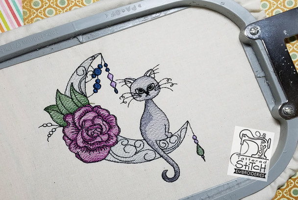 """Moon Dust Kitty - 5x7"""" & 6x11"""" Hoop, Machine Embroidery Pattern - Instant Download - Light Fill Stitching"""