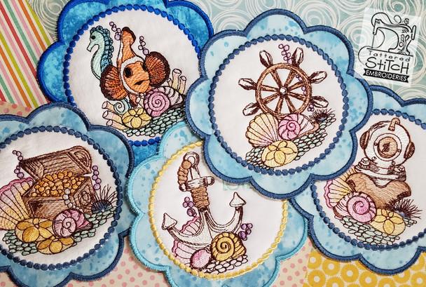 Nautical Mug Rug-Coasters Bundle - Embroidery Designs