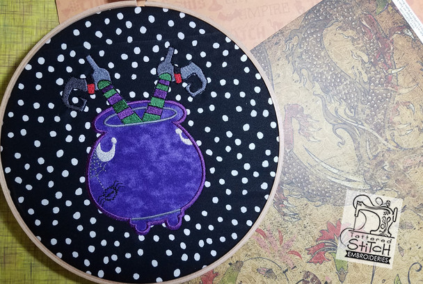 """Cauldron Applique fits a 5x7 """" Hoop, Machine Embroidery Pattern - Instant Download"""