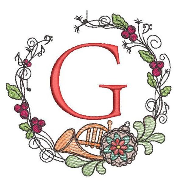 French Horn Wreath G Font - Embroidery Designs