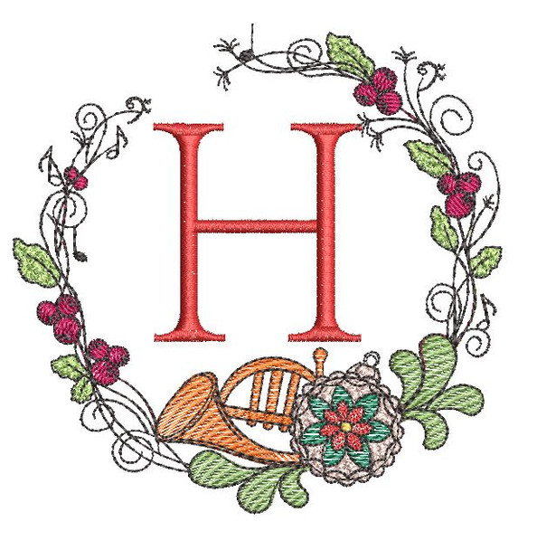 French Horn Wreath H Font - Embroidery Designs