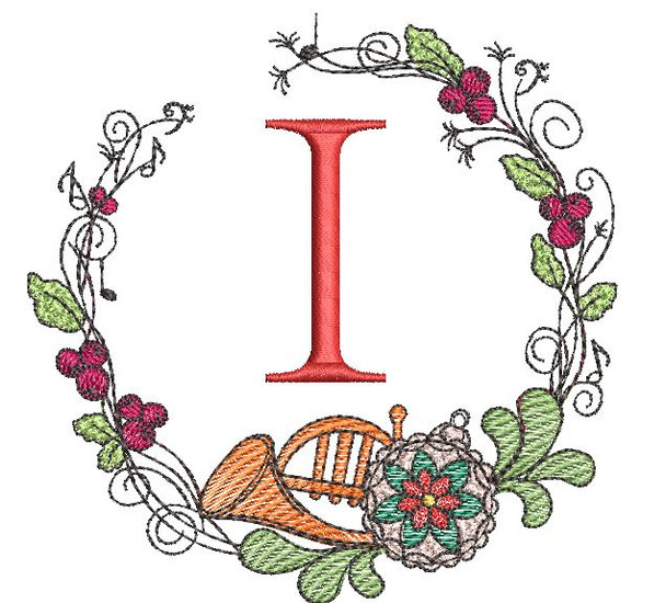 French Horn Wreath I Font - Embroidery Designs