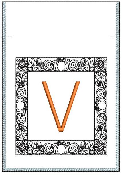Fall Harvest Font Bag - V - Embroidery Design