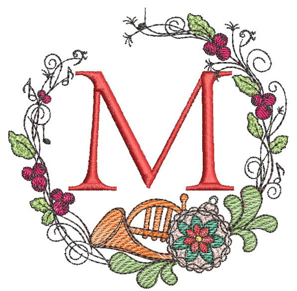French Horn Wreath M Font - Embroidery Designs