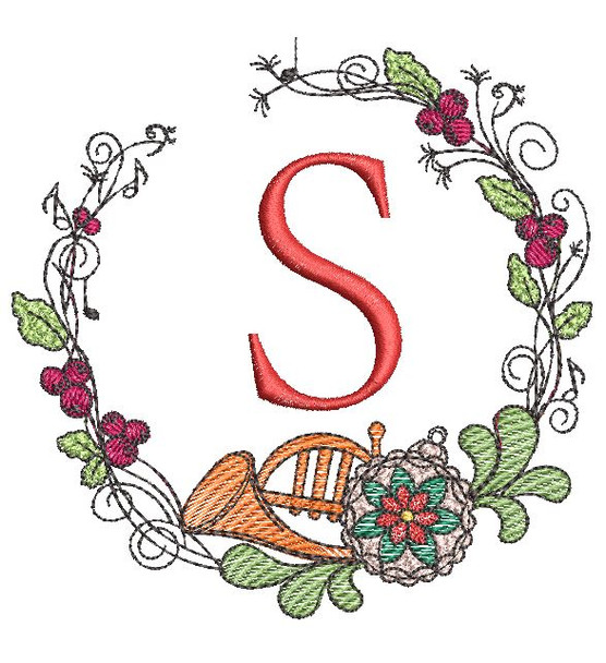 "French Horn Wreath S Font - Fits a 4x4"" Hoop -Machine Embroidery - Light fill stitch"